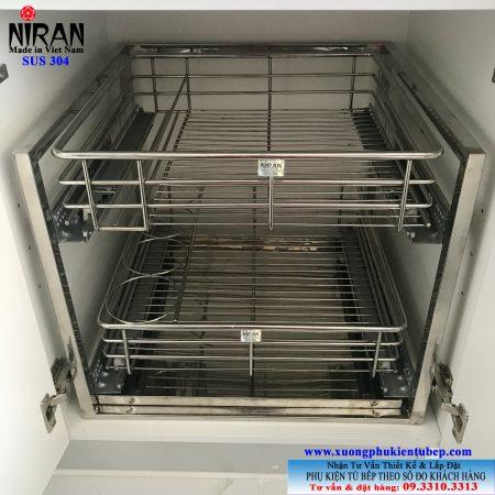 Kệ xoong nồi inox 304 ray giảm chấn Niran NR0802