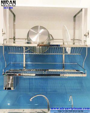 kệ chén dĩa treo đáy tủ 2 tầng Niran NR0601