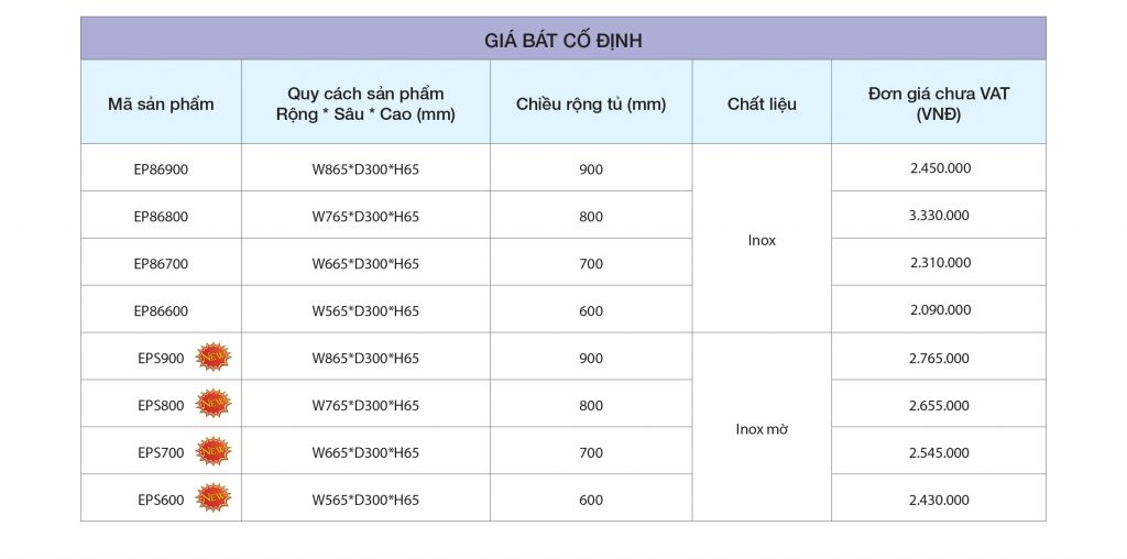 Bảng giá Giá bát cố định cao cấp EP86.900