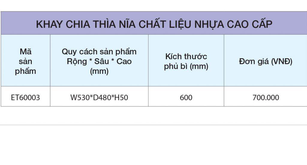 BẢNG GIÁ Khay chia thìa dĩa nhựa cao cấp ET60003 – Eurogold