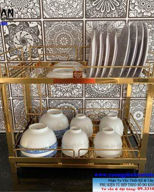 Kệ úp chén dĩa để bàn inox 304 mạ vàng