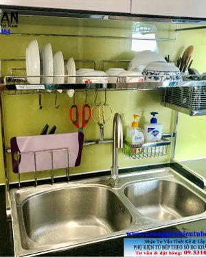 giá úp chén bát 1 tầng đa năng inox 304 trên chậu rửa